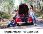 friends on a roadtrip having a... | Shutterstock . vector #492885355