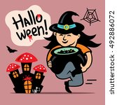 vector halloween witch with... | Shutterstock .eps vector #492886072