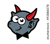 vector demon with red horns... | Shutterstock .eps vector #492886078