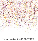 falling coloured confetties  3d ... | Shutterstock . vector #492887122