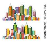 set view of the city in the...   Shutterstock .eps vector #492892756