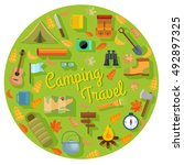 vector set of flat camping... | Shutterstock .eps vector #492897325