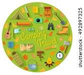 vector set of flat camping... | Shutterstock .eps vector #492897325