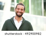 close up portrait of smiling... | Shutterstock . vector #492900982