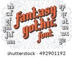 fantasy gothic font. retro... | Shutterstock .eps vector #492901192