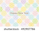 new year card. colorful dots... | Shutterstock .eps vector #492907786