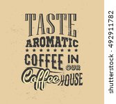 poster with hand drawn coffee... | Shutterstock .eps vector #492911782