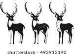 set of black and white deer for ... | Shutterstock .eps vector #492912142