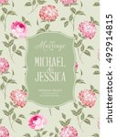 marriage invitation card with... | Shutterstock .eps vector #492914815