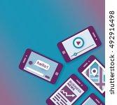 illustration of mobile phones... | Shutterstock .eps vector #492916498