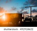 silhouette forklift truck... | Shutterstock . vector #492918622