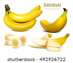 ripe yellow bananas. collection ... | Shutterstock .eps vector #492926722