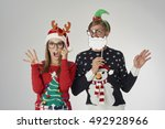 couple ready for the christmas... | Shutterstock . vector #492928966