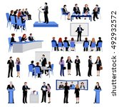 public speaking people flat... | Shutterstock .eps vector #492932572