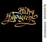 happy halloween lettering... | Shutterstock .eps vector #492935578