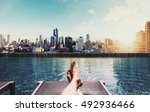 relaxing in holidays  panoramic ... | Shutterstock . vector #492936466