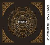 vintage badge for whiskey... | Shutterstock .eps vector #492944206