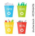 set of recycle garbage bins.... | Shutterstock .eps vector #492946456