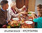 family thanksgiving dinner | Shutterstock . vector #492956986