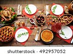 thanksgiving table | Shutterstock . vector #492957052