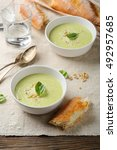 cream soup with cheese in two... | Shutterstock . vector #492957685