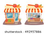 grocery store front and... | Shutterstock .eps vector #492957886