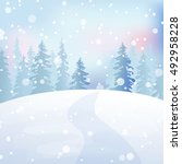 christmas snow scene with fir... | Shutterstock .eps vector #492958228