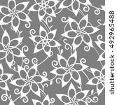 grey abstract floral pattern.... | Shutterstock .eps vector #492965488
