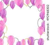 watercolor purple and... | Shutterstock . vector #492968302