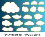 cloud vector icon set white... | Shutterstock .eps vector #492981046