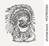 hand drawn pug wearing... | Shutterstock .eps vector #492982066