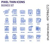 thin line flat icons pack for... | Shutterstock .eps vector #492986272