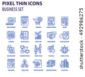 thin line flat icons pack for... | Shutterstock .eps vector #492986275