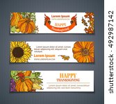 vector set of harvest... | Shutterstock .eps vector #492987142