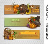 happy thanksgiving horizontal... | Shutterstock .eps vector #492991042