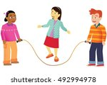 children skipping. | Shutterstock .eps vector #492994978
