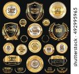 golden retro vintage badges... | Shutterstock .eps vector #492995965
