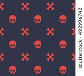 pattern with skull and bones ... | Shutterstock .eps vector #492996742