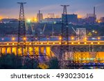Industrial View With Powerline...