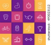 16 fitness  gym line icons set  ... | Shutterstock .eps vector #493023112