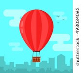 hot air ballon in the sky and... | Shutterstock .eps vector #493034062
