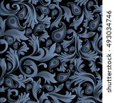 baroque damask elegant vector...   Shutterstock .eps vector #493034746