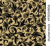 baroque damask vector seamless...   Shutterstock .eps vector #493034806