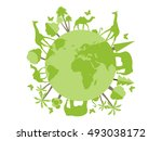 animals on the planet  animal... | Shutterstock .eps vector #493038172