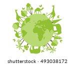 Animals on the planet, animal shelter, wildlife sanctuary. World Environment Day. Vector illustration.   Shutterstock vector #493038172