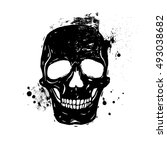 Human Skull Black And White...