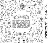 hand drawn doodle happy... | Shutterstock .eps vector #493039672