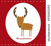 merry christmas deer cute funny ... | Shutterstock .eps vector #493043392