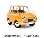 Retro Car Orange In 60s Style...