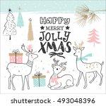 hand drawn christmas card with... | Shutterstock .eps vector #493048396